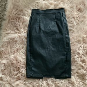 Dresses & Skirts - Black feaux leather pencil skirt